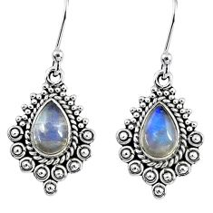 925 sterling silver 4.06cts natural rainbow moonstone dangle earrings r55258