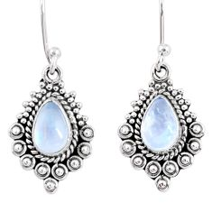 925 sterling silver 3.80cts natural rainbow moonstone dangle earrings r55278