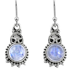 925 sterling silver 5.13cts natural rainbow moonstone dangle earrings r60436