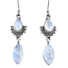 925 sterling silver 9.37cts natural rainbow moonstone dangle earrings r64137