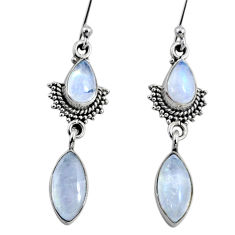 925 sterling silver 9.26cts natural rainbow moonstone dangle earrings r64140