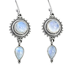 925 sterling silver 8.45cts natural rainbow moonstone dangle earrings r64156