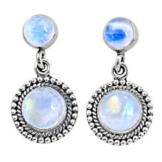 925 sterling silver 7.54cts natural rainbow moonstone dangle earrings r64178