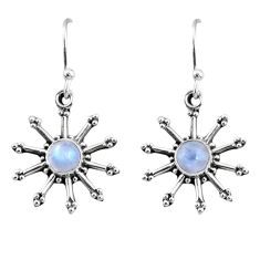 925 sterling silver 2.47cts natural rainbow moonstone dangle earrings r65104
