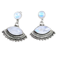 925 sterling silver 9.98cts natural rainbow moonstone dangle earrings r66598