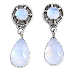 925 sterling silver 9.37cts natural rainbow moonstone dangle earrings r66613