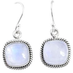 925 sterling silver 8.73cts natural rainbow moonstone dangle earrings r66751