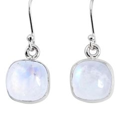 925 sterling silver 9.83cts natural rainbow moonstone dangle earrings r66798