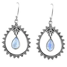925 sterling silver 4.03cts natural rainbow moonstone dangle earrings r67098