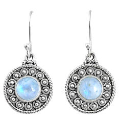 925 sterling silver 4.93cts natural rainbow moonstone dangle earrings r67114