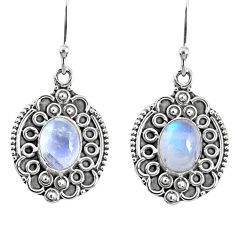 925 sterling silver 4.22cts natural rainbow moonstone dangle earrings r67213