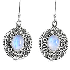 925 sterling silver 4.52cts natural rainbow moonstone dangle earrings r67280
