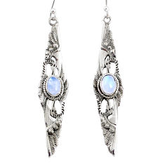 925 sterling silver 2.07cts natural rainbow moonstone dangle earrings r67860