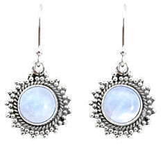 925 sterling silver 6.72cts natural rainbow moonstone dangle earrings r74898
