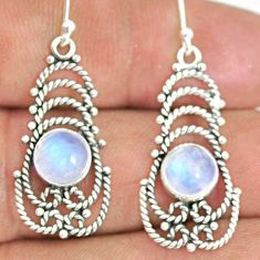 925 sterling silver 5.36cts natural rainbow moonstone dangle earrings r84104