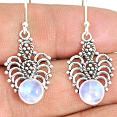 925 sterling silver 4.67cts natural rainbow moonstone dangle earrings r84124