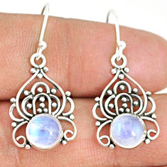 925 sterling silver 4.52cts natural rainbow moonstone dangle earrings r84136