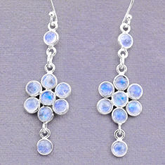 925 sterling silver 9.18cts natural rainbow moonstone dangle earrings t12420