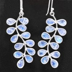 925 sterling silver 15.32cts natural rainbow moonstone dangle earrings t1756