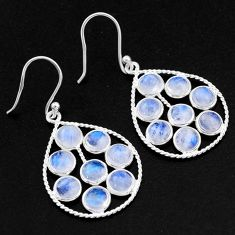925 sterling silver 11.62cts natural rainbow moonstone dangle earrings t1792