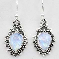 925 sterling silver 4.80cts natural rainbow moonstone dangle earrings t26892