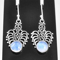925 sterling silver 3.66cts natural rainbow moonstone dangle earrings t4048
