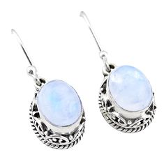 925 sterling silver 6.25cts natural rainbow moonstone dangle earrings t46820