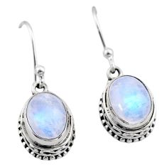 925 sterling silver 6.36cts natural rainbow moonstone dangle earrings t46837