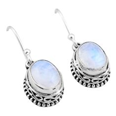 925 sterling silver 6.36cts natural rainbow moonstone dangle earrings t46840