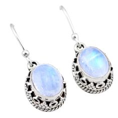 925 sterling silver 5.54cts natural rainbow moonstone dangle earrings t46878