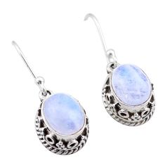 925 sterling silver 5.84cts natural rainbow moonstone dangle earrings t46880