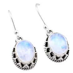 925 sterling silver 5.82cts natural rainbow moonstone dangle earrings t46899