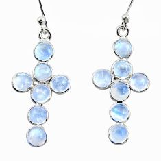 925 sterling silver 5.65cts natural rainbow moonstone holy cross earrings r35734