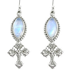 925 sterling silver 9.86cts natural rainbow moonstone holy cross earrings r74979