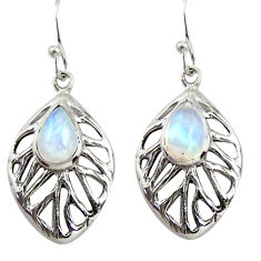 925 sterling silver 4.73cts natural rainbow moonstone leaf earrings r39200