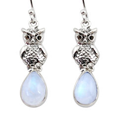 925 sterling silver 4.82cts natural rainbow moonstone owl earrings r48129