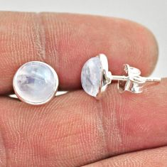 925 sterling silver 5.70cts natural rainbow moonstone round stud earrings r27335