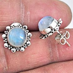 925 sterling silver 5.43cts natural rainbow moonstone stud earrings r55159
