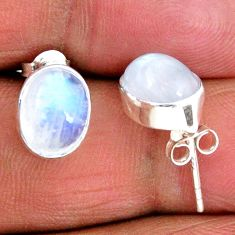 925 sterling silver 5.43cts natural rainbow moonstone stud earrings r56512
