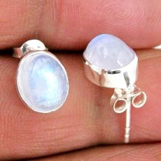 925 sterling silver 5.48cts natural rainbow moonstone stud earrings r56516