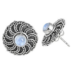 925 sterling silver 1.64cts natural rainbow moonstone stud earrings r59715