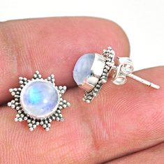 925 sterling silver 4.91cts natural rainbow moonstone stud earrings r67015