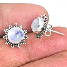 925 sterling silver 4.57cts natural rainbow moonstone stud earrings r67019