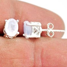 925 sterling silver 3.39cts natural rainbow moonstone stud earrings r87439