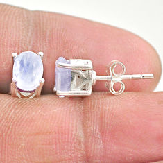 925 sterling silver 3.39cts natural rainbow moonstone stud earrings t4880