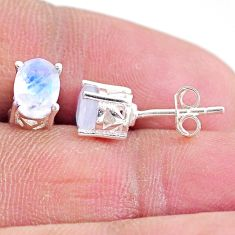 925 sterling silver 2.84cts natural rainbow moonstone stud earrings t4900