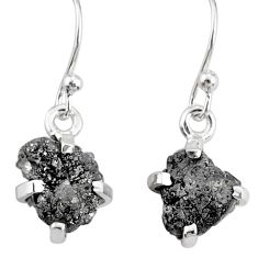 925 sterling silver 4.37cts natural raw diamond rough handmade earrings r79323