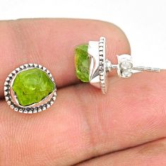 925 sterling silver 7.13cts natural rough peridot raw dangle earrings r75117