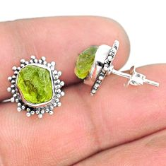 925 sterling silver 7.42cts natural rough peridot raw dangle earrings r75120