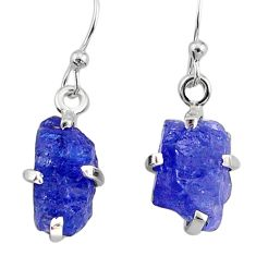 925 sterling silver 7.95cts natural raw tanzanite rough dangle earrings r79434
